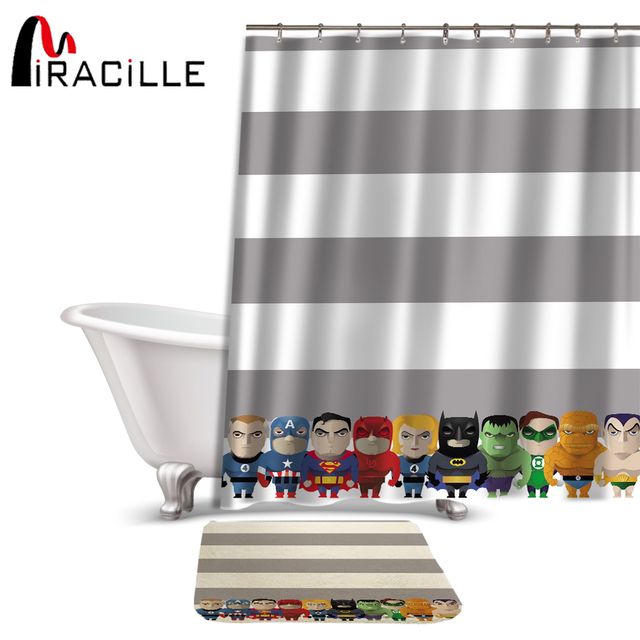 Miracille Cartoon Cute Superman Printed Waterproof Polyester Fabric Shower Curtain And Anti Slip Bath Coral