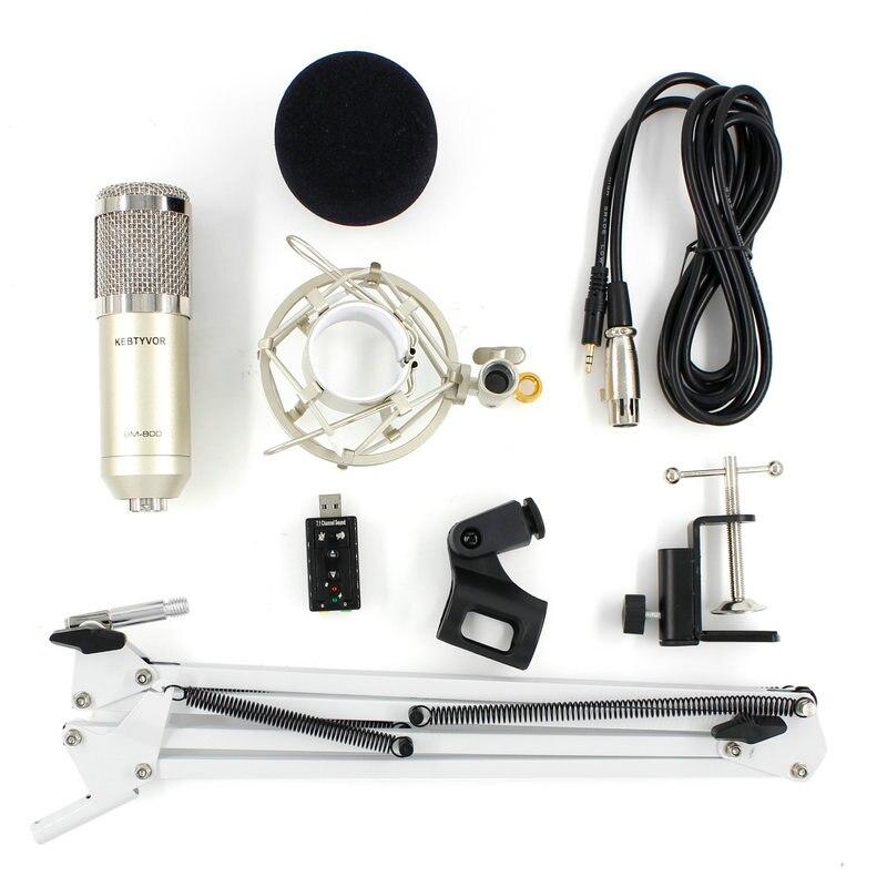Bm 800 microfone condensador portátil profissional usb mic + choque montar nb-35 mic suporte placa de som estúdio microfone para pc