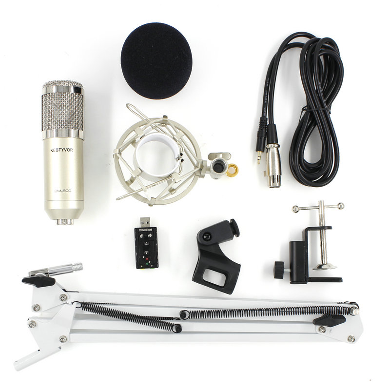 Portable Bm 800 Condenser Microphone Professional Usb Mic + Shock Mount + Nb-35 Mic Stand + Sound Card Studio Microphone For PC