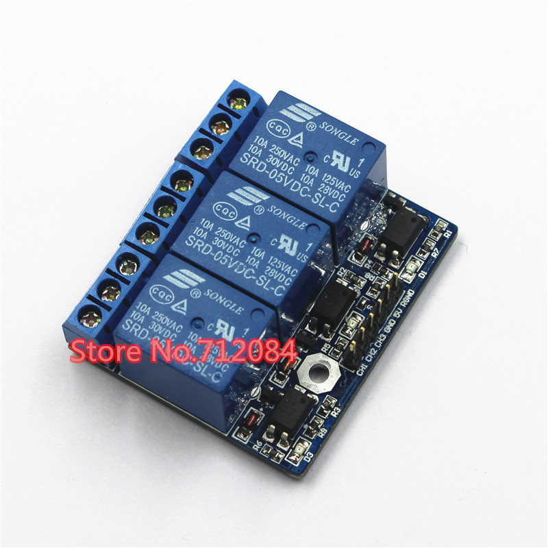 three 3-channel high-voltage relay module with opto-isolated, fully compatible with 3.3V and 5v signal