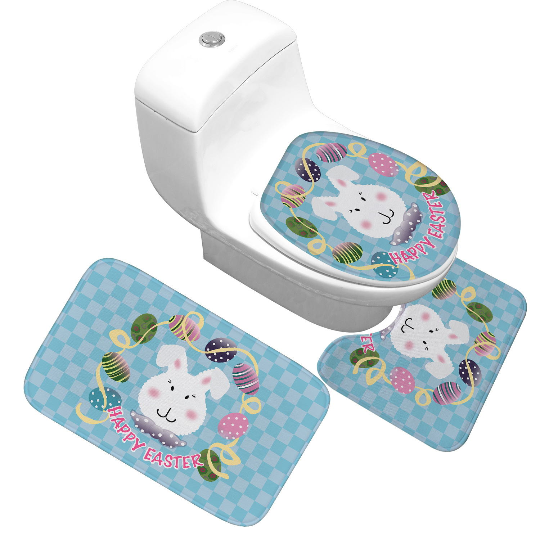 Easter Bath Mat Decoration Toilet Cover Foot Mat Flannel