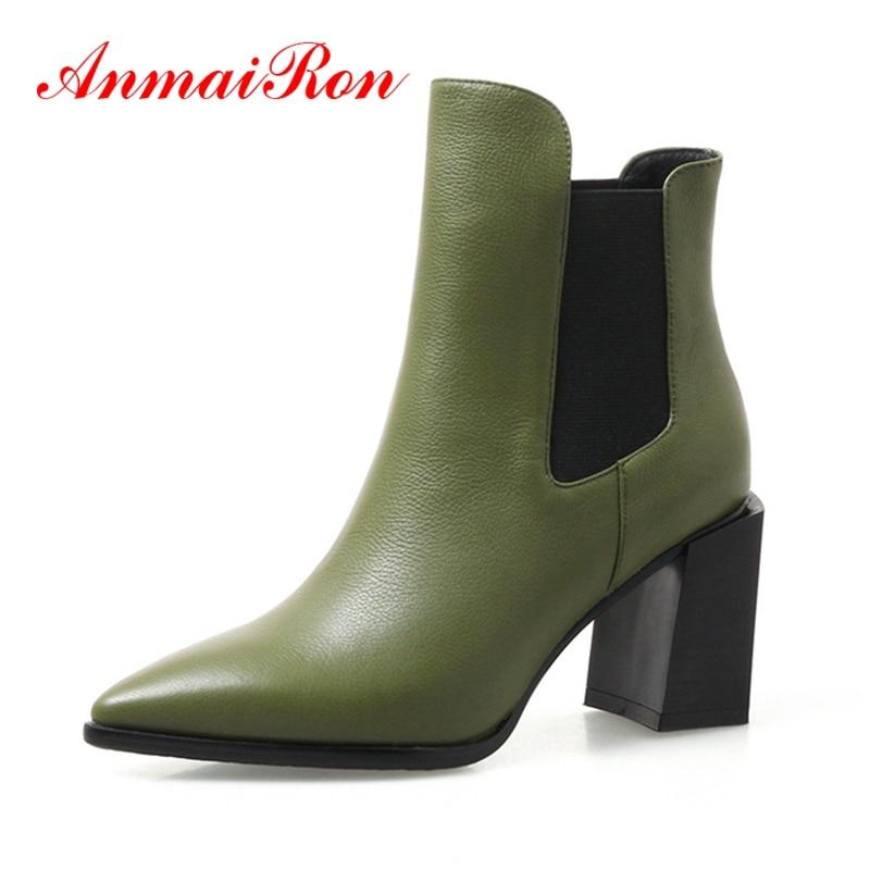 sur Femmes Pointu Nouvelle Beige black Grande green Solide Slip Haute Zyl1274 Courtes Talon Bottines Dame Botas Mujer Taille Bout Mode Anmairon qSpLVGMUz