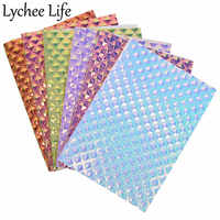 Lychee Life A4 Iridescent Leather Fabric Colorful PU Holographic Fabric DIY Modern Home Garment Textile Sewing Cloth Accessories