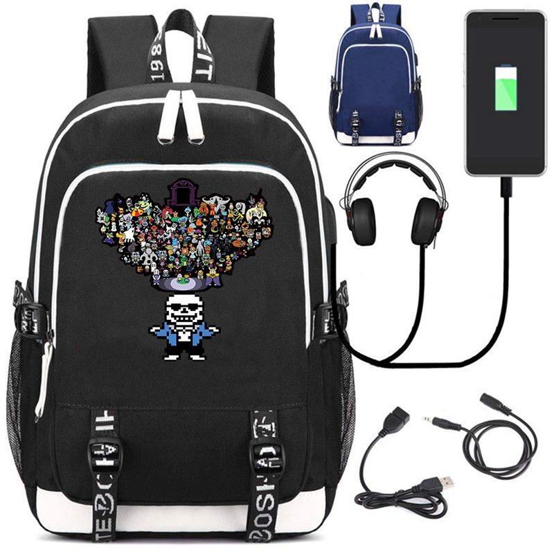 Game Undertale Sans School Backpack USB Charge Interface Shoulder Travel Laptop Bag Work Leisure Fashion Bag High quality GiftGame Undertale Sans School Backpack USB Charge Interface Shoulder Travel Laptop Bag Work Leisure Fashion Bag High quality Gift