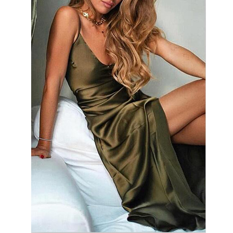 Plus Size 4XL Summer Women Long Silk Dress 2019 Spaghetti Strap Loose Split Sexy Backless Maxi Satin Slip Dress in Dresses from Women 39 s Clothing