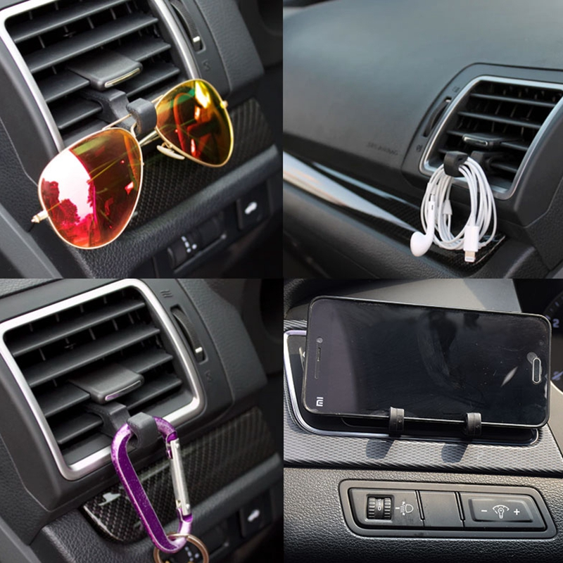 2pcs Multi-function Car Outlet Hook Automobiles Car Hooks Air Vent Outlet Mount Fastener Clips Universal Black Car Styling