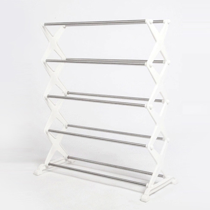 DIY Stainless Steel 5 Tiers Shoes Rack Shelf Simple Utility Combinatorial Shoes Storage Organizer White diy stainless steel motor universal coupling 5 x 5mm