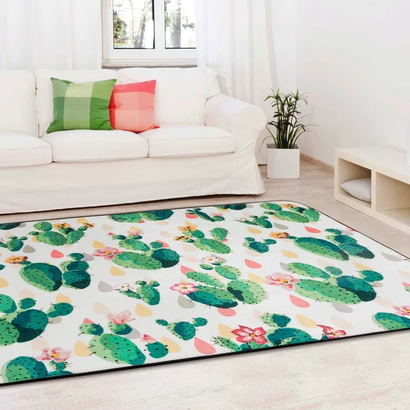 Plant Cactus Carpet Design Kids Bedroom Area Rug Child