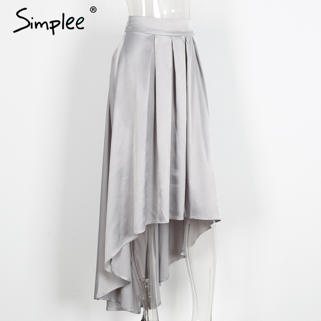 Simplee Slip satin sash ruffle long skirt Summer 2017 black loose high waist skirt Elegant bow high low party red women skirt