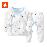 GB Cotton Long Sleeve Lacing Baby Sleepwear Cute Cartoon Printing Pajamas Opening Crotch Design Breathable Comfort