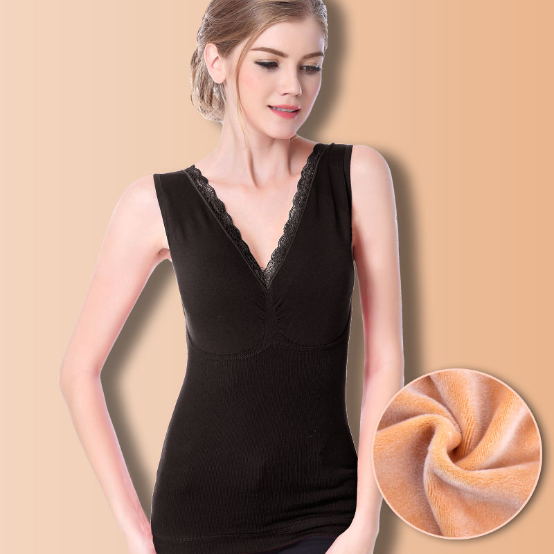 08fcd7211472e Detail Feedback Questions about Thermal underwear women backing double warm  velvet elastic vest cotton lace body seamless sleeveless thermo inner wear  ...