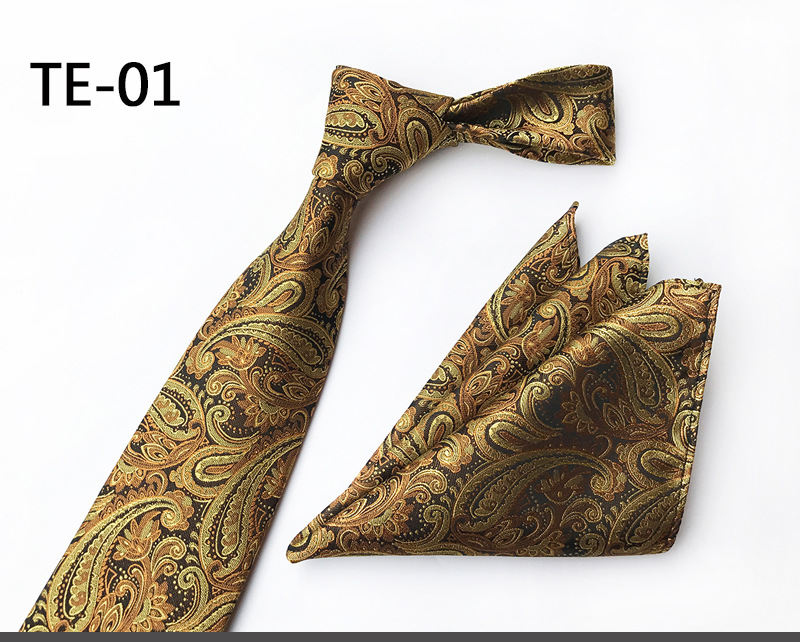 Diligent Scst Brand Gravata New 8cm Slim Neckties Mens Wedding Ties For Men Silk Tie Business Necktie With Match Handkerchiefs Gold A087 Delicious In Taste Apparel Accessories