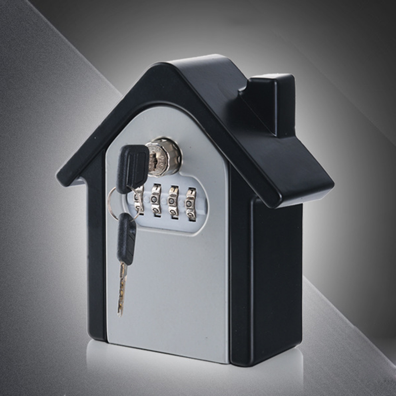 Key Safe Box Password & Key Lock Outdoor Safety Keys Storage Box Creative House Shape Security Wall Mounted Combination Lock Box