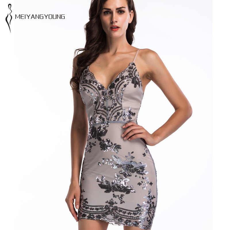 5b0f2d75dc1 Сексуальное облегающее платье с пайетками на бретелях элегантное женское  блестящее черное мини-платье на бретельках