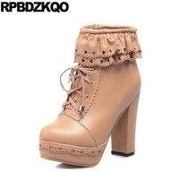 תחרה עד הבוהן עגולה לבן סתיו מגפי פלטפורמת קרסול נעלי נשים נעליים עקב גבוה שמנמן לוליטה ממתקי חורף סלסולים גודל גדול 11