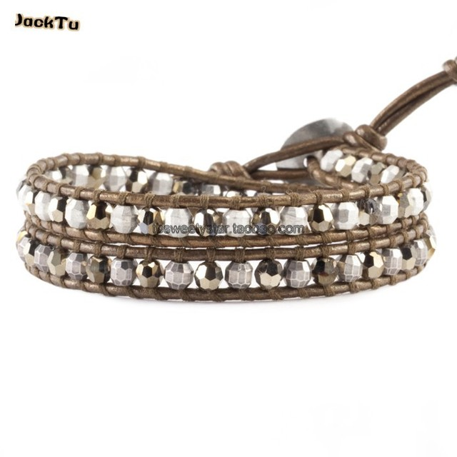 crystal beads kansa leather bracelet wholesale