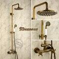 Furukawa antique copper whole suite shower nozzle surface mounted lift European retro black bronze large shower