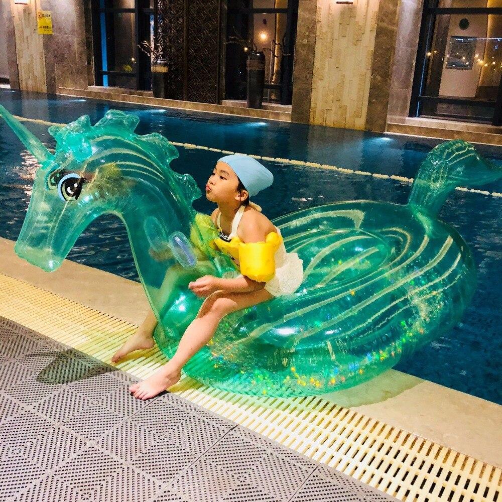 240 cm Gigante Glitter Unicorno di Cristallo Verde Rosa Pegasus Gonfiabile Piscina Galleggiante 2018 Ride-On Anello di Nuoto Materasso Ad Aria acqua Giocattoli