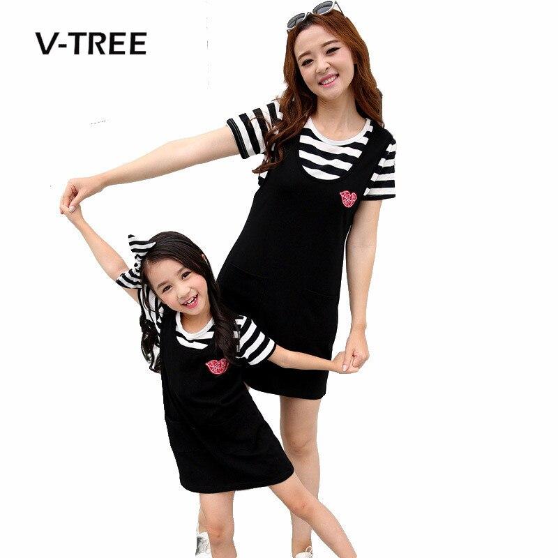 272b796f9ceed15 V-TREE летние платья для мамы и дочки модные Полосатые одинаковые комплекты  для семьи Платья для женщин для Семья