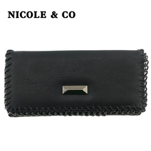 NICOLE & CO New Women Wallets PU Leather Long Style Card Holder Money Purse Fashion Female  Hand Phone Bag