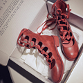 32962668600 - Vangull, botas para mujer, 2019, zapatos de moda para mujer, cuero genuino de vaca, botas a media pierna, sandalias romanas huecas, talla única, pequeña