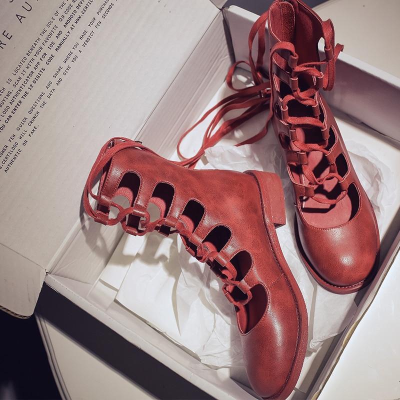 Hueco Zapatos Red wine Genuino Media Cuero Estaciones De Moda Vaca White Romano Cuatro Botas Vangull Encaje 2019 Pantorrilla Sandalias Mujer black qxw4tFO