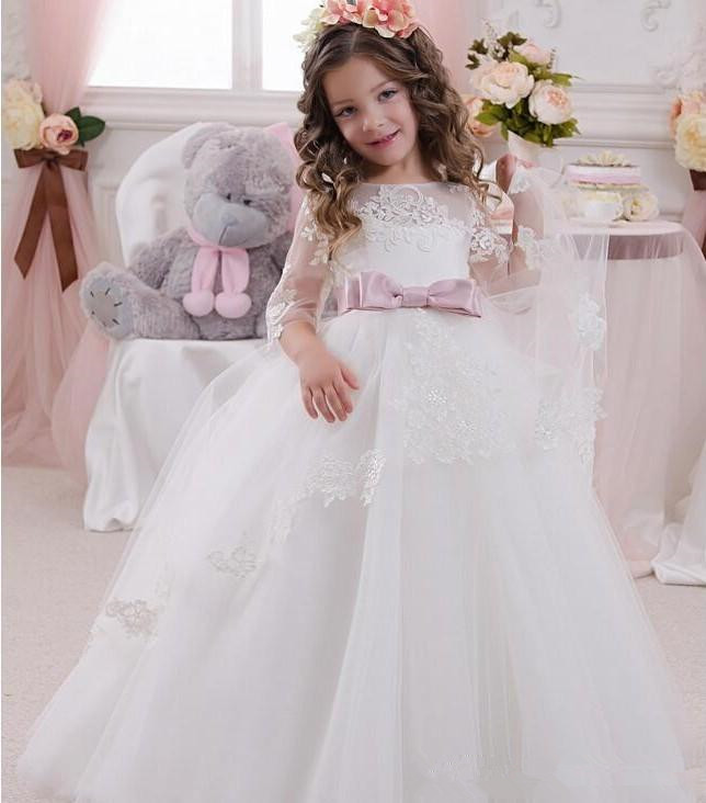 Cute Ball Gown   Flower     Girls     Dresses   For Weddings With Sheer Neck 3/4 Sleeves Bowknot Cheap White / Ivory Child Communion   Dress