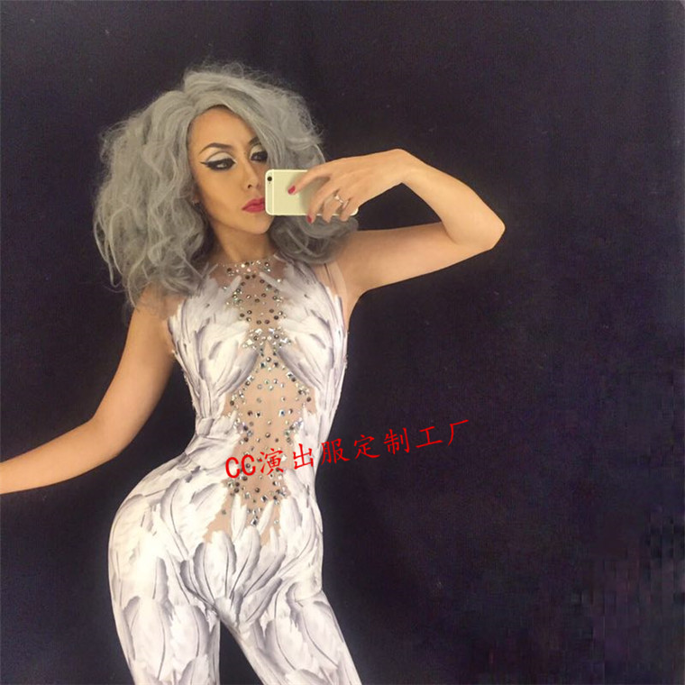 Women New sexy female song host DJ 3D printing white feather jumpsuit adult stage performance costume party celebration