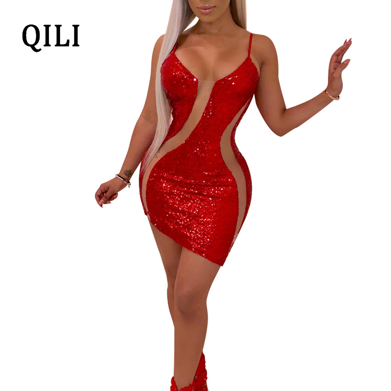QILI 2019 New Hot Women Sequin Dress Mesh Patchwork Sleeveless O Neck Short Dresses Sexy Womens Party Club Red Black Gold