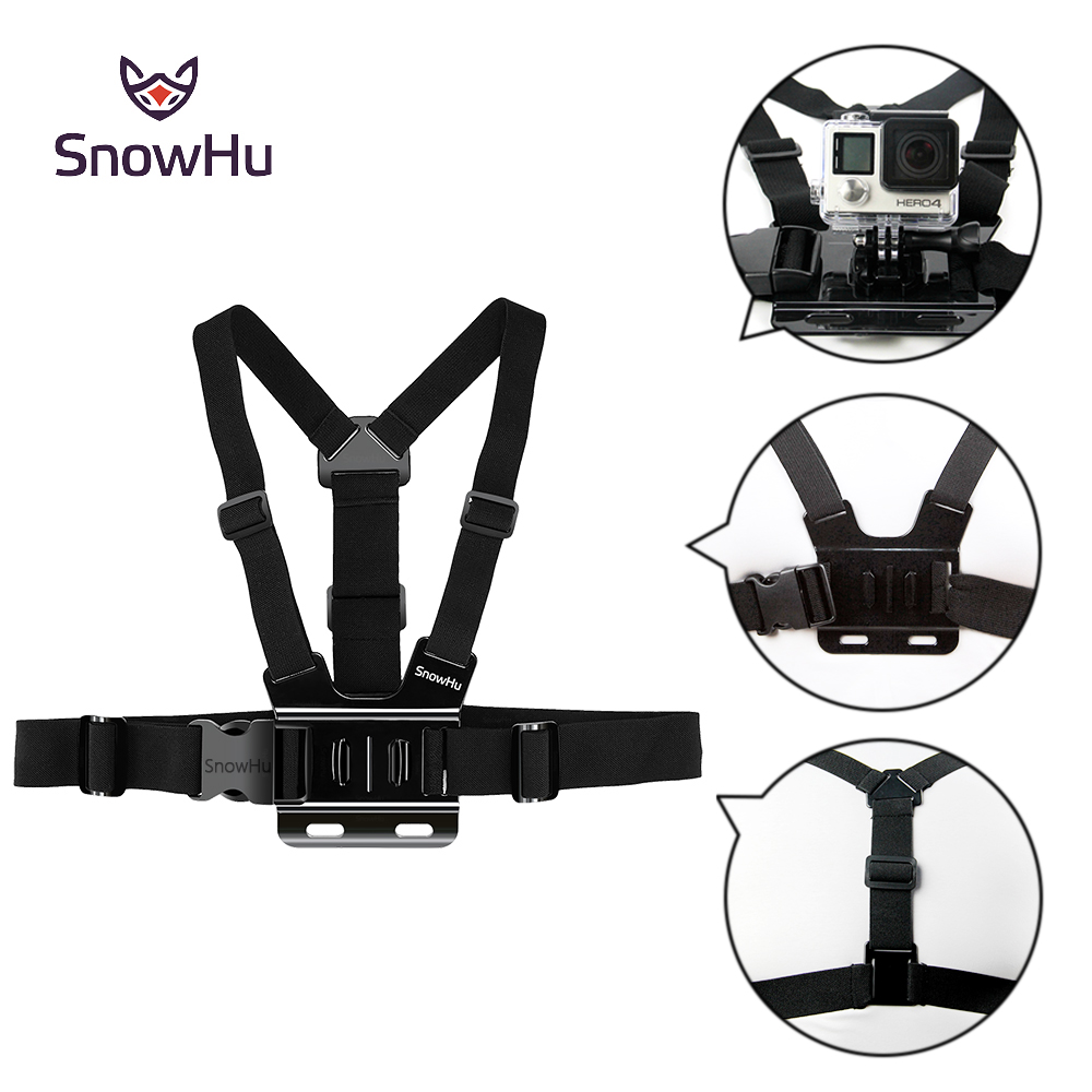 цена на SnowHu For Gopro Accessories Adjustable Chest Strap Belt Body Tripod Harness Mount For Gopro Hero 6 5 4 3+ for Xiaomi Yi GP27