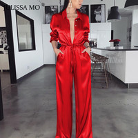 JULISSA MO Red Satin Casual Loose Jumpsuit Women Rompers Lapel V Neck Bandage Wide Legs Jumpsuits 2019 Fashion Ladies Overalls