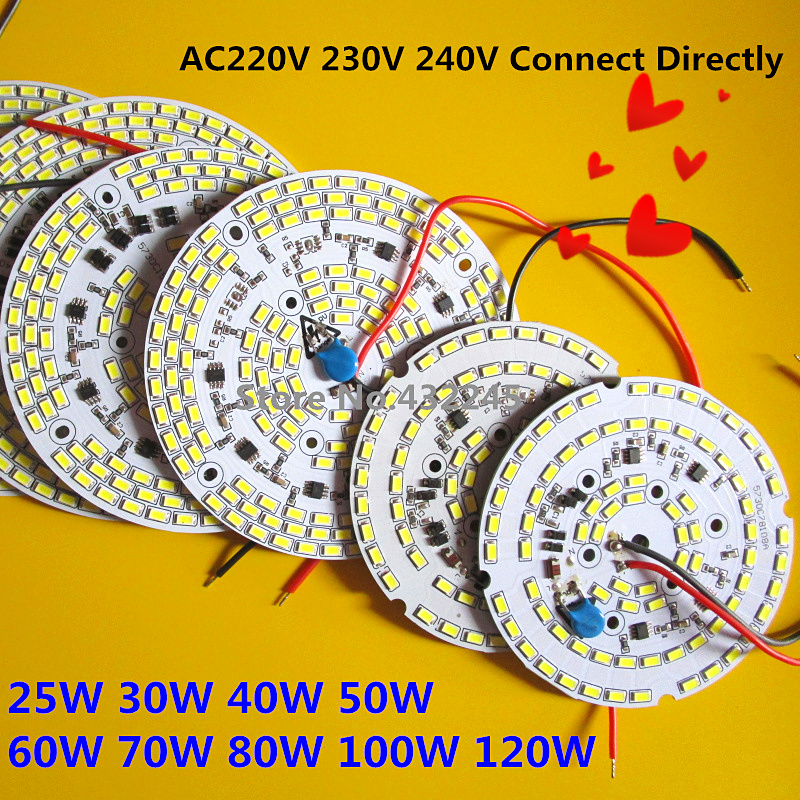 2 pieces SMD 5730 LED aluminum plate 120w 100w 80w 70w 60w 50w 40w 30w 24w  with integrated IC driver  no need driver PCB. 10pcs led aluminum plate 40mm for 5w 5730 smd heat sink