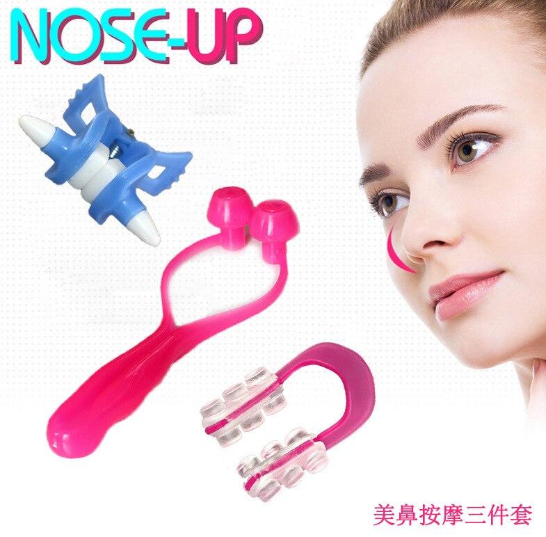 3PCS/set  Nose Clip Up Bridge Straightening Beauty Clip + Lifting Shaping Shaper + Nose Massage Langetka Nose Correction Set  3pcs 3 175x15mm up