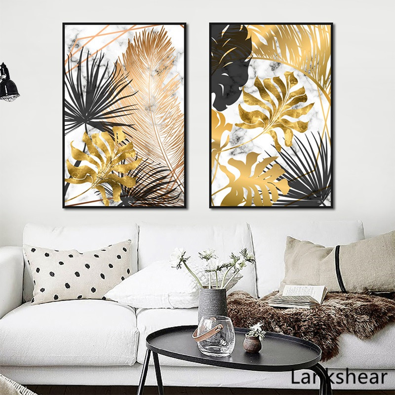 HTB1qAokXEY1gK0jSZFCq6AwqXXar Scandinavian Style Poster Marble Golden Leaf Art Plant Abstract Painting Living Room Decoration Pictures Nordic Decoration
