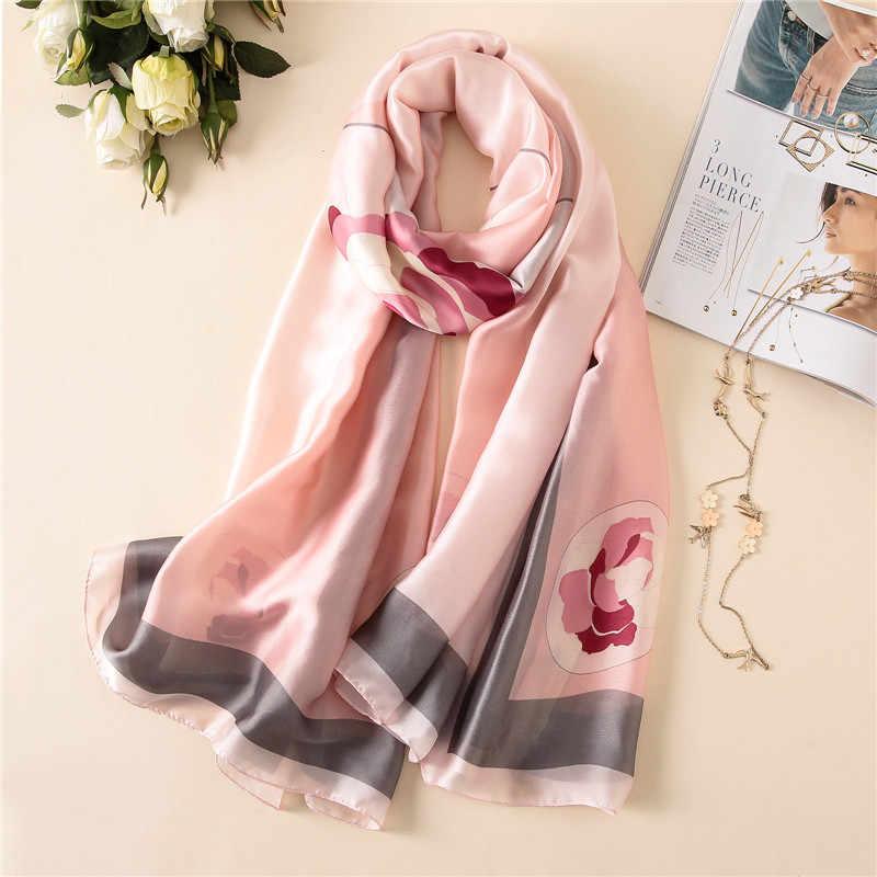 2018 nueva señora pashmina bandanas diseñador marca mujer bufanda caliente verano suave largo tamaño bufandas de seda 180*90cm
