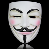 White Bronze Resin V For Vendetta Mask Halloween Masquerade Prop Anonymous Guy Fawkes Fancy Dress Adult