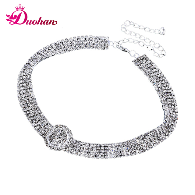 2017 New Design White Rhinestone Choker Necklace Fashion Jewelry Luxury Necklaces for Women Gleaming Multi row Crystal Choker
