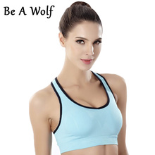Be A Wolf Womens Sport Bra Fitness Yoga Running Vest Underwear Padded Crop Shockproof Tops Underwear No Wire-rim Bras Female