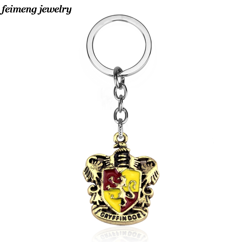 College Logo Hogwarts Gryffindor Hufflepuff Slytherin Ravenctaw School Logo Keychain&Pendants Holder Movie Jewelry Drop Shipping
