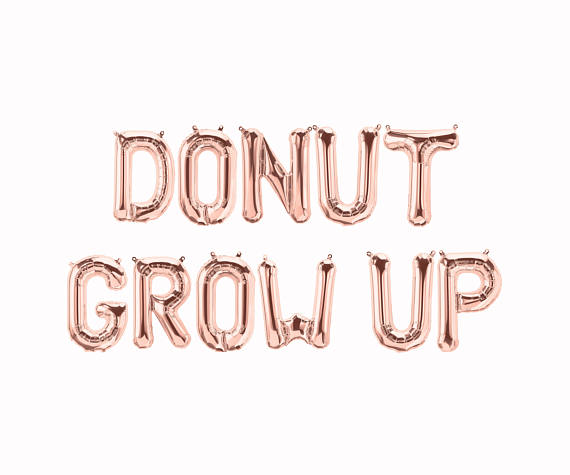 Donut Grow Up Balloons,letter banner party decorations wedding donut sign favors donut theme birthday