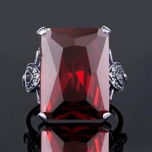 Image 5 - خاتم نسائي من الفضة الخالصة 925 من Szjinao خاتم عتيق مربع مرصع بأحجار كريمة من الأوتريشن إدوارد عتيق 2020 مجوهرات