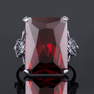 Image 5 - Szjinao Real 925 Sterling Silver Women Ring Garnet Vintage Square Gemstone Autrichien Edward Antique 2020 Jewelry Grosses Bagues