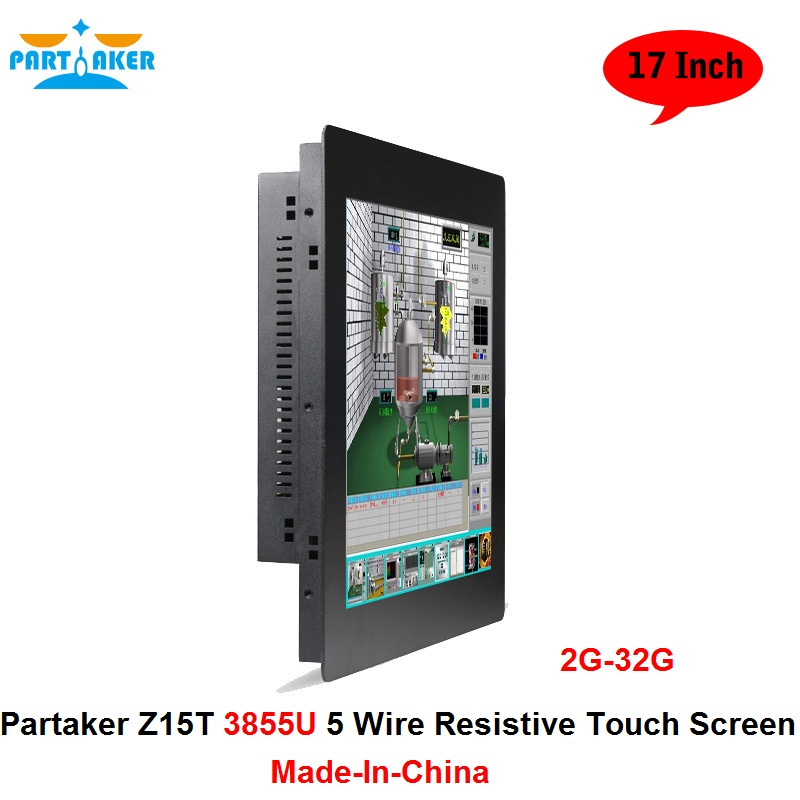 Partaker Elite Z15T Industrial Panel PC All In One Pc With 2mm Slim 17 Inch Intel Celeron Dual Core 3855U цена