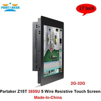 Partaker Elite Z15T Industrial Panel PC All In One Pc With 2mm Slim 17 Inch Intel Celeron Dual Core 3855U