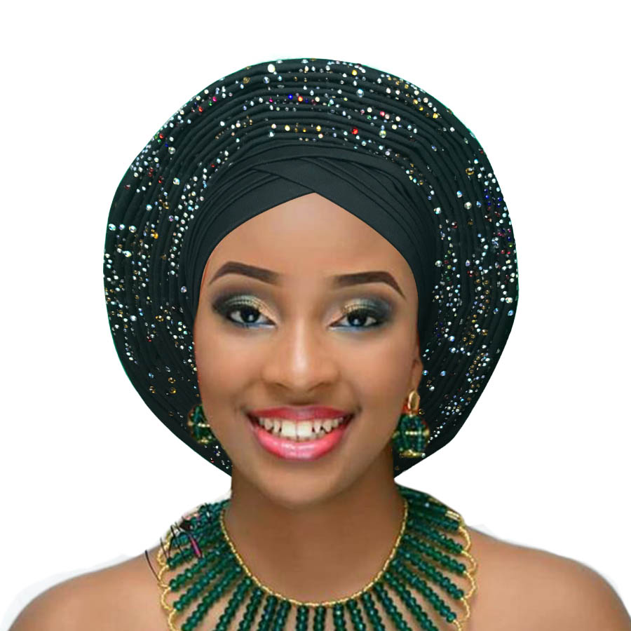Woman auto gele african headtie wedding headwraps already made turban aso oke gele (3)