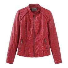 NXH  faux leather jackets women Moto Biker jacket plus size autumn coat black pink red pu 2019 fashion