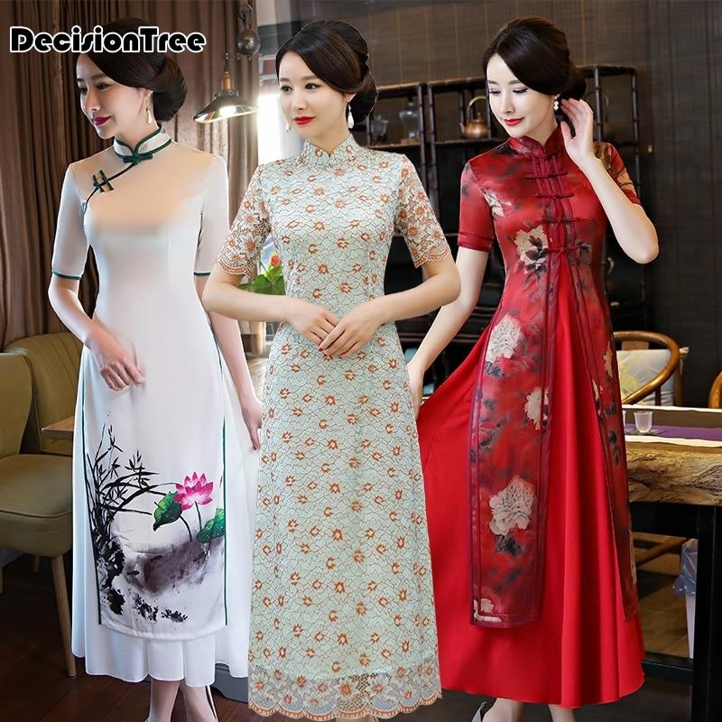 2019 Folk Style Half Sleeve Chinese Qipao Vietnam Chiffon Aodai Graceful Stand Collar Elegant Long Swan Print Qipao Dress