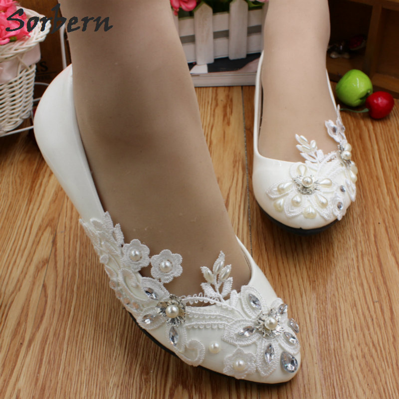 Sorbern Cheap Crystal Wedding Shoes Lace Appliques White Bridal Shoes Flat Heels Trendy Heels Closed Toe Heels Flats Shoes Women