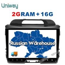 Uniway 2G + 16G 2 din android 6.0 dvd del coche para kia sportage 2014 2011 2009 2010 2013 2015 car stereo radio reproductor multimedia GPS