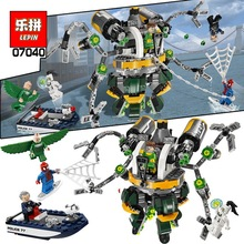 LEPIN 07040 Marvel Super Heroes Spiderman Doc Ock's Tentacle Trap Building Blocks Minifigures Avengers DC Toys legoe superheroes